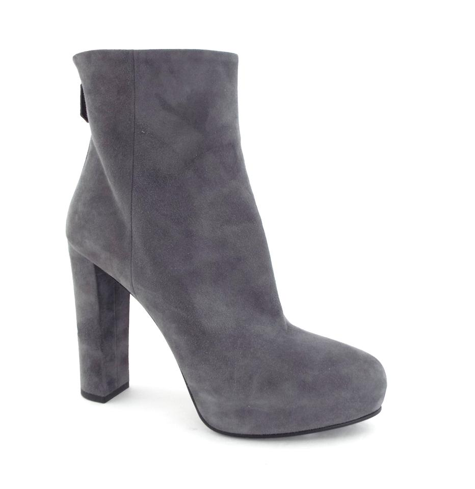 cd23694cfd4f Prada Buff Gray Suede Leather Platform Back Zip Ankle Boots Booties ...