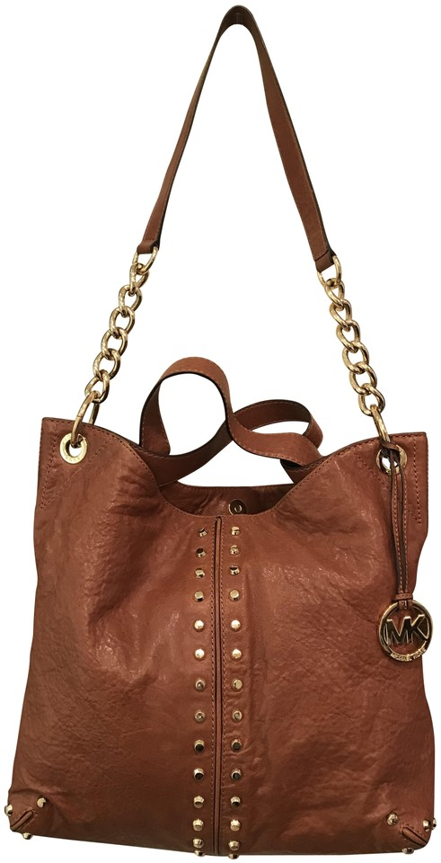 a0f1b9d08631 Michael Kors Uptown Leather Shoulder Tote in Cognac Walnut Luggage Brown  Image 0 ...