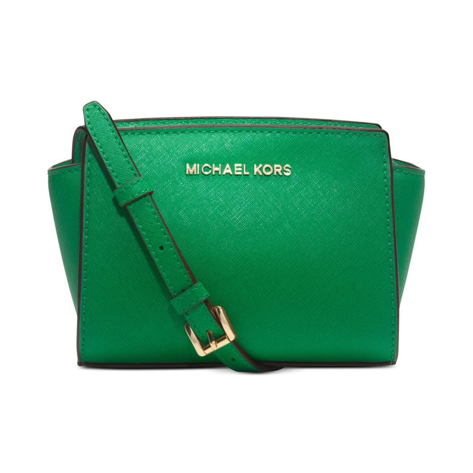 Michael Kors Women s Selma Mini Messenger Green Leather Cross Body ... b76c7b69419df