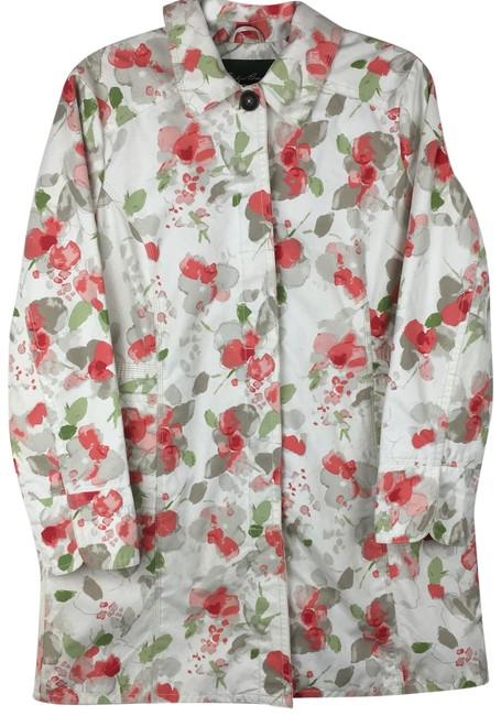 Item - White Pink Green Floral Coat Size Petite 12 (L)