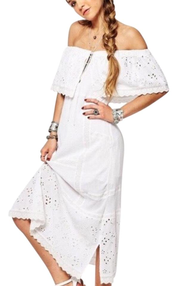cf655a24d7c Free People Off Shoulder White Eyelet Long Casual Maxi Dress Size 0 ...