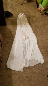 White/Biege Lace White/Biege Nwot Vintage Wedding Dress Size 4 (S)