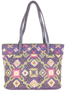 Fendi Classic Beaded Embellished Travel Chic Tote in Purple Black