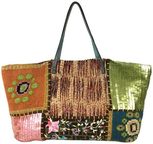 Fendi Embellished Embroidered Beaded Signature Travel Tote in Brown Green