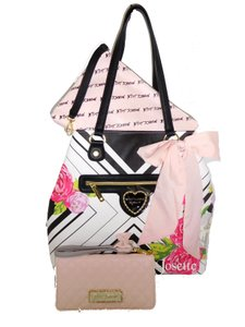 Betsey Johnson Xl Front Zip Pocket Floral Wallet Tote in WHITE