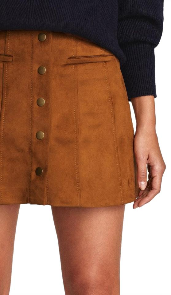d14d48b72 Zara Camel Brown Faux Suede Gold Button Up Skirt Size 4 (S, 27 ...