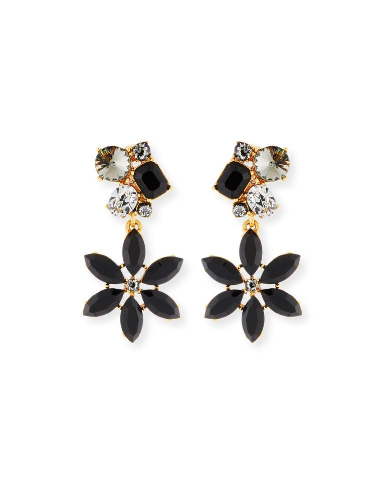 Oscar De La A Crystal Flower Clip On Earrings