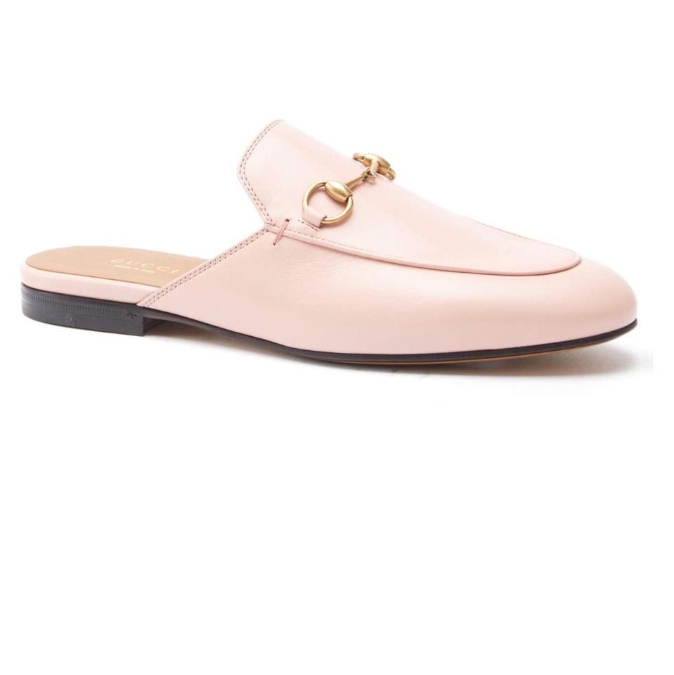 gucci light pink leather princetown loafer mules slides size us 10