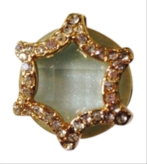 Neiman Marcus NWOT Faceted Amazonite & Cubic Zirconia In 14kt Gold-Plate Stud Earrings Image 1