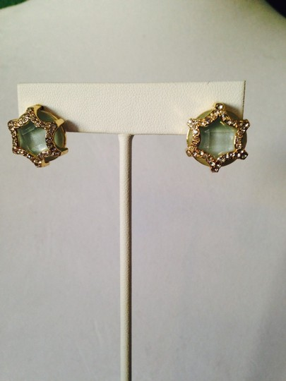 Neiman Marcus NWOT Faceted Amazonite & Cubic Zirconia In 14kt Gold-Plate Stud Earrings Image 2