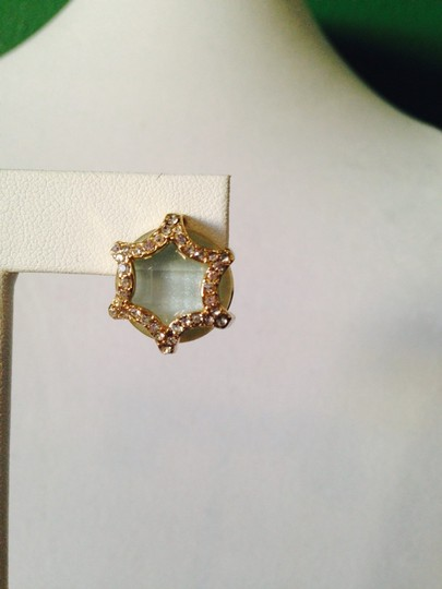 Neiman Marcus NWOT Faceted Amazonite & Cubic Zirconia In 14kt Gold-Plate Stud Earrings