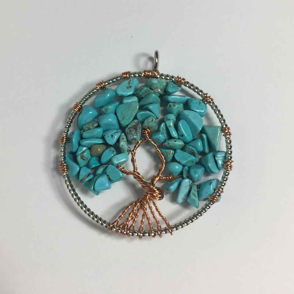 Bead landing turquoise copper tree of life pendant charm tradesy bead landing tree of life pendant 123 mozeypictures Image collections