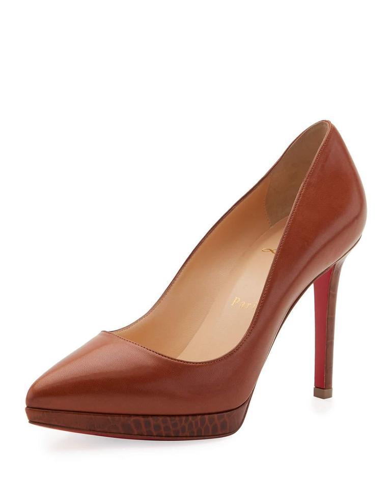 22f2bfb54aae Christian Louboutin Brown Pigalle Plato 100 Cuoio Croc Leather Heel Pumps