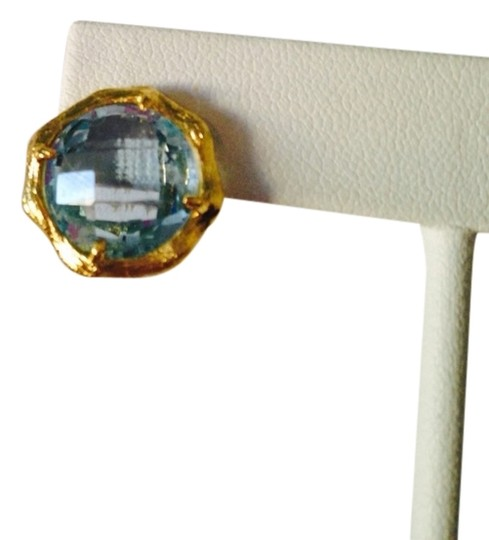 Mia Fiore NWOT Faceted Blue Topaz Gemstone In 14kt Gold-Plate Stud Earrings Image 1