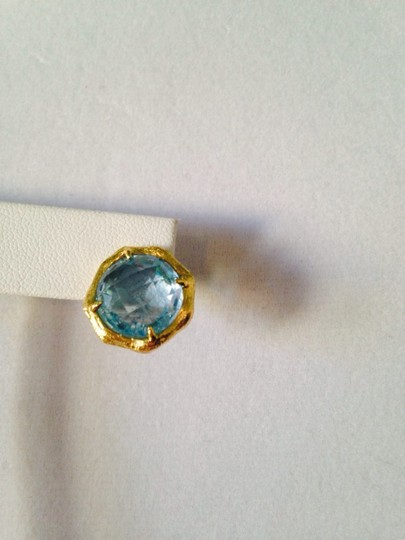 Mia Fiore NWOT Faceted Blue Topaz Gemstone In 14kt Gold-Plate Stud Earrings Image 3