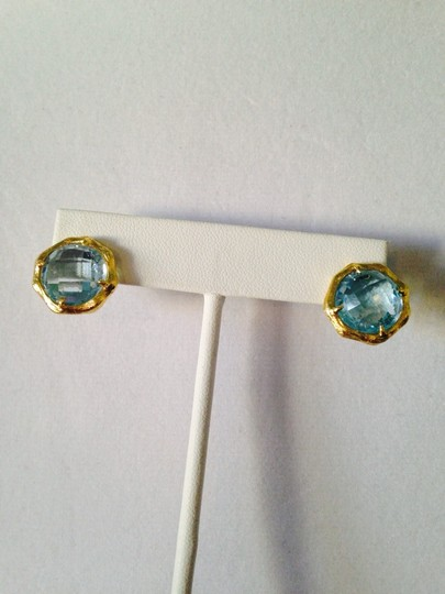 Mia Fiore NWOT Faceted Blue Topaz Gemstone In 14kt Gold-Plate Stud Earrings Image 4
