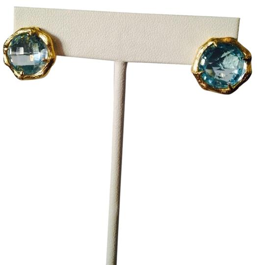 Mia Fiore NWOT Faceted Blue Topaz Gemstone In 14kt Gold-Plate Stud Earrings