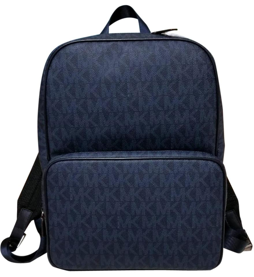 99c6ee61db199 Michael Kors Mens Logo Signature Blue Leather and Canvas Backpack ...