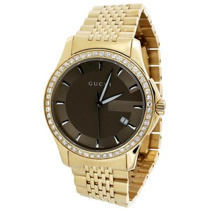 1dd0204de71 Gucci Gucci YA126406 Diamond Watch Brown Dial Stainless Steel Gold PVD