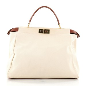 Fendi Leather Canvas Satchel in off white
