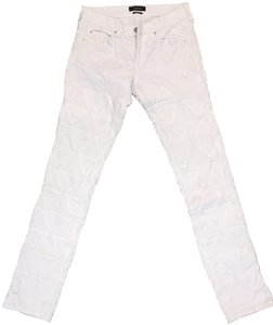 Isabel Marant Quilted White Denim Straight Leg Jeans