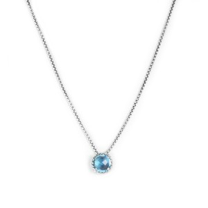 David Yurman Chatelaine Pendant Necklace w/ 8mm Blue Topaz $325 NWOT