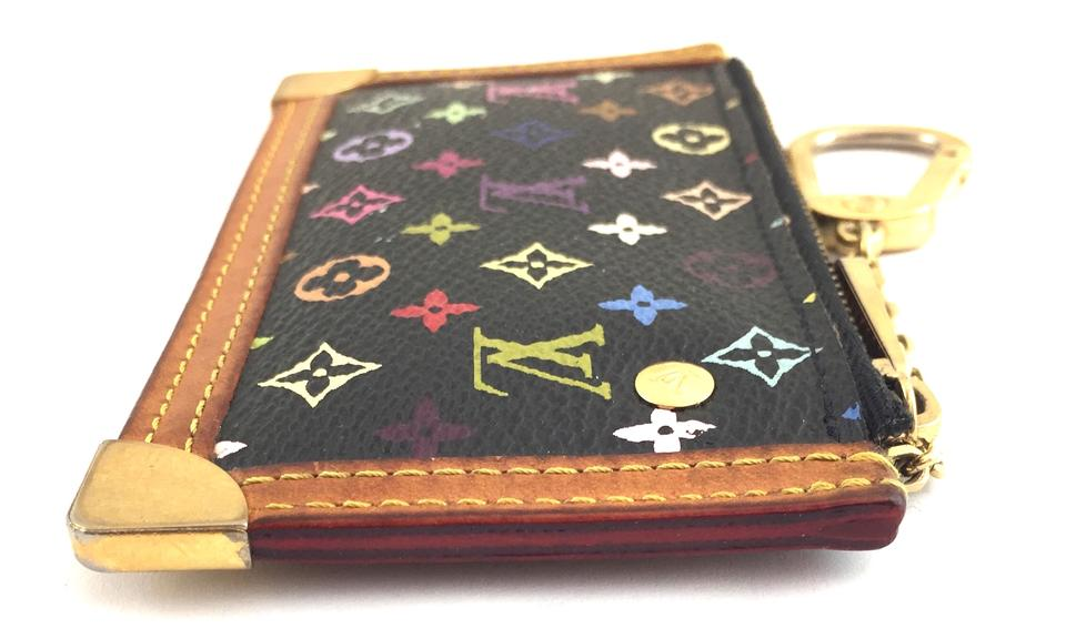 57c53399da Louis Vuitton  16761 Black Multicolor Monogram Zippy Key Cles Pocket Holder  Wallet