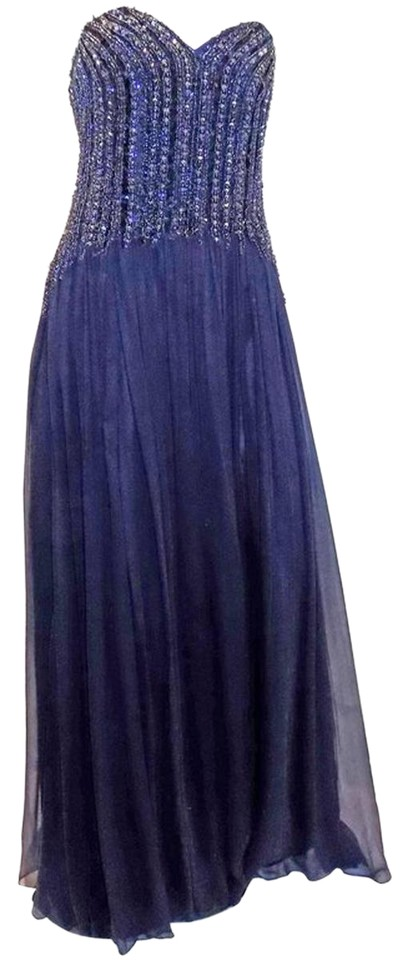 David Meister Navy New W Tags Blue Beaded Chiffon Corset Evening ...