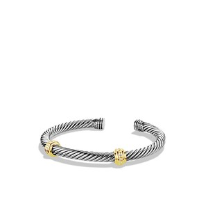 David Yurman Cable Classics Two Station Cuff - Sterling Silver & 14K Gold
