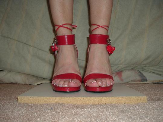 Earnest Sewn Vintage Heel Pin Decoration Red Sandals Image 6