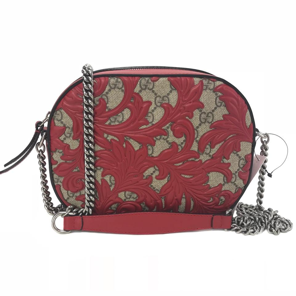 df9131cde89 Gucci 409535 Arabesque Gg Supreme Mini Chain Red Canvas Cross Body ...
