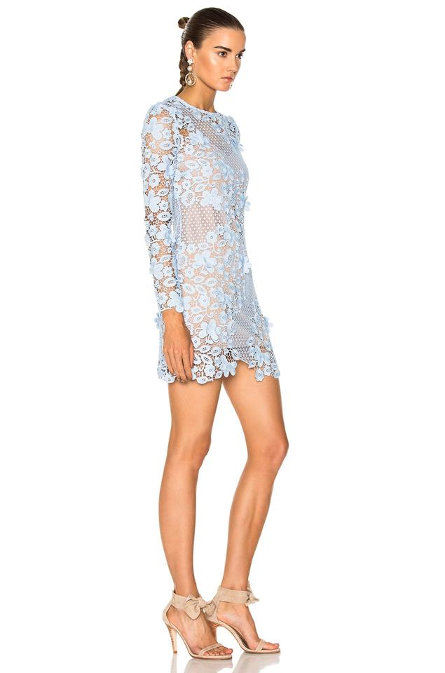fb14ef81db self-portrait Blue Long Sleeve Floral Lace Mini Short Cocktail Dress ...