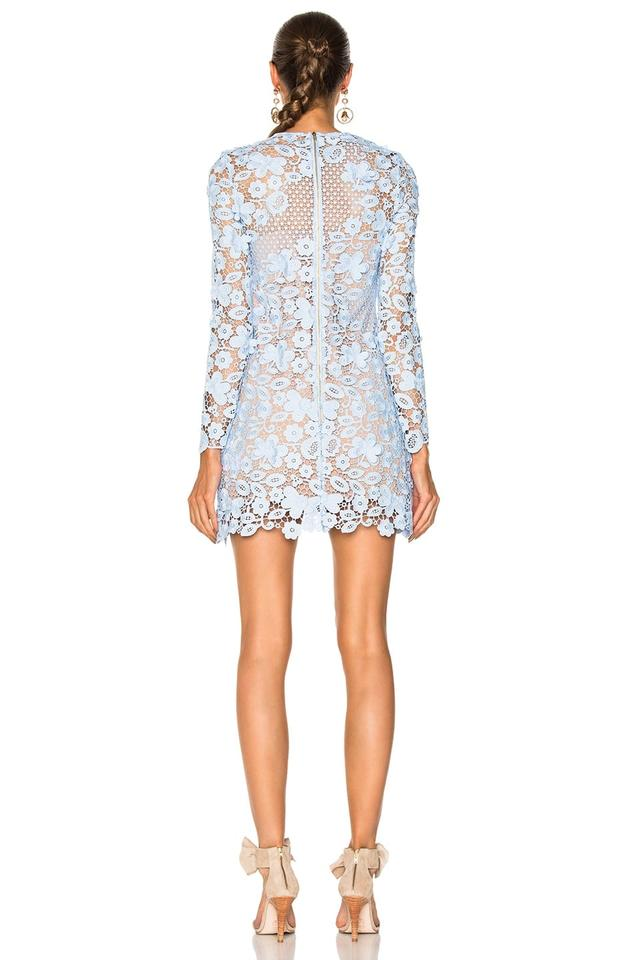 7845d37531 self-portrait Blue Long Sleeve Floral Lace Mini Short Cocktail Dress Size 2  (XS) - Tradesy