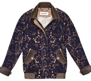 self-portrait Bomber Novelty navy lace with tan contrast color Jacket