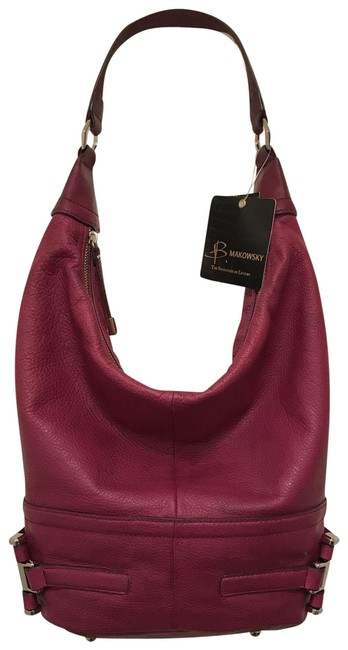 Item - Bucket New Distressed/Oil Rubbed Purple Pink Silver Leather Hobo Bag