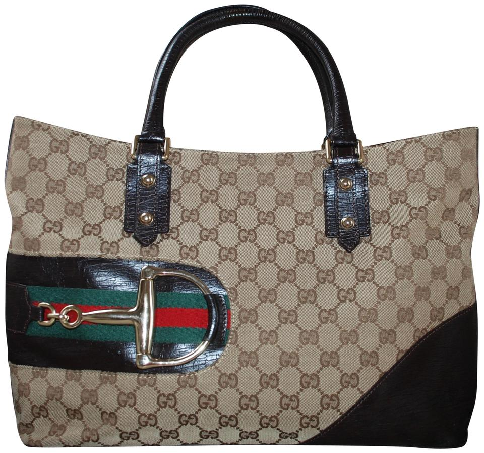 f1b8bb688255 Gucci Horsebit Hasler D Ring Guccissima Monogram Leather Brown Canvas Tote