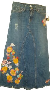 Lucky Brand Vintage Embroidered Limited Edition Maxi Skirt Denim