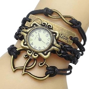 Other RESERVED For Maria: Double Heart INFINITY Black Multiwrap Bracelet Watch