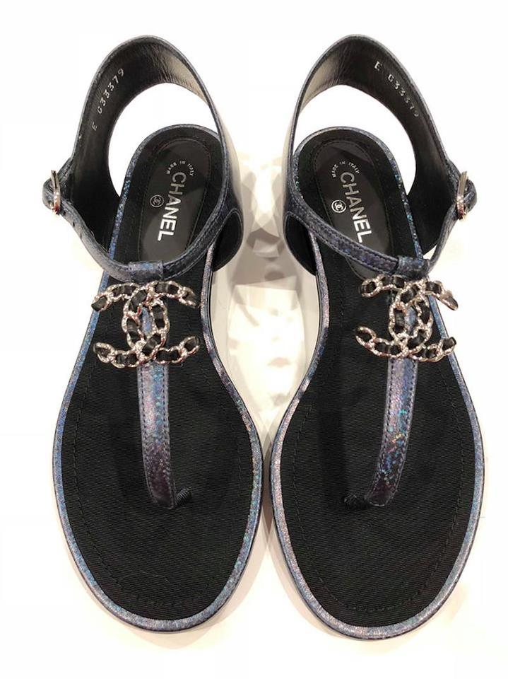 140abe8ab81855 Chanel Blue 17k Black Leather Cc Chain Logo Thong Strappy Flat 35c Sandals