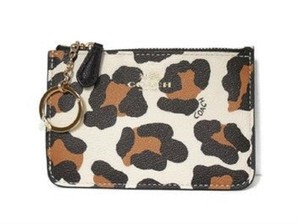 Coach Coach Saffiano Leather Ocelot Animal Print Coin Case Key Chain 64072