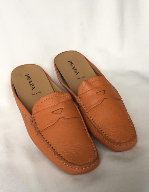 Item - Orange Leather Slip On Flats Size EU 40 (Approx. US 10) Regular (M, B)