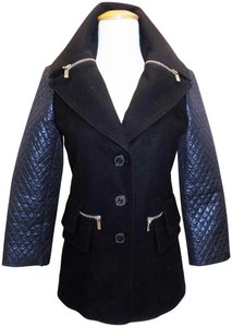 Michael Kors Car Zippers Wool Quilted Pea Coat