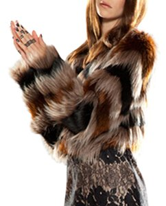 Twelfth St. by Cynthia Vincent Asymmetric Faux Boho Bohemian Fur Coat