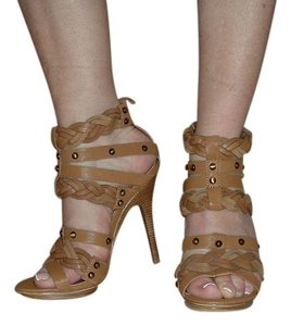 Pelle Moda Leather Sexy Straps Snaps Tan Sandals