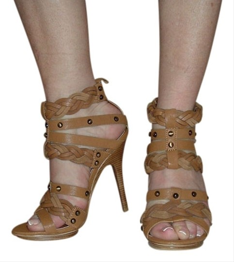 Pelle Moda Leather Sexy Straps Snaps Ankle Hegh Heel Tan Sandals