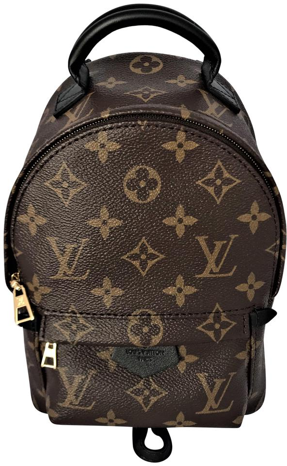 bf29c22a600f9 Louis Vuitton Palm Springs New Lv Mini Monogram Black Brown Leather ...