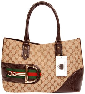 Gucci Monogram Leather Horsebit Hasler Guccissima Tote in Brown 5647
