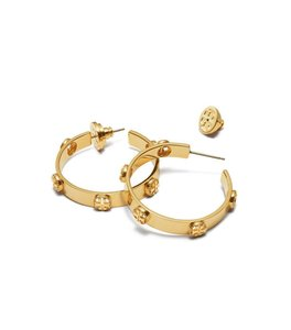 Tory Burch Brand New tory Burch Milgrain Logo Hoop Earrings in Gold
