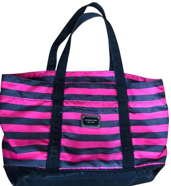 Item - And Black Tote Pink Canvas Beach Bag