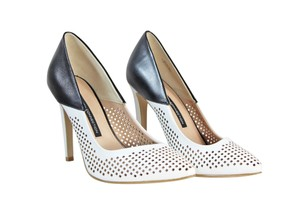 French Connection Sexy Leather Laser Cut Stiletto Black/white Pumps